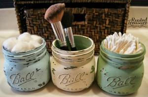 painted mason jars in the bathroom