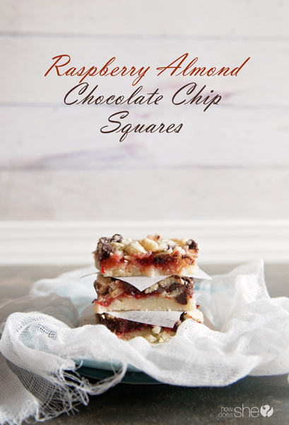 Ridiculously delicious Raspberry Almond Chocolate Chip Squares - www.howdoesshe.com