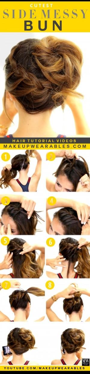 3-Cutest-Braided-Hairstyles-Side-Messy-Bun-Braid-Hair-Tutorial