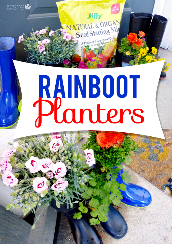 cute rainboot planter tutorial