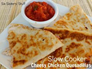 slow cooker cheesy chicken quesadillas