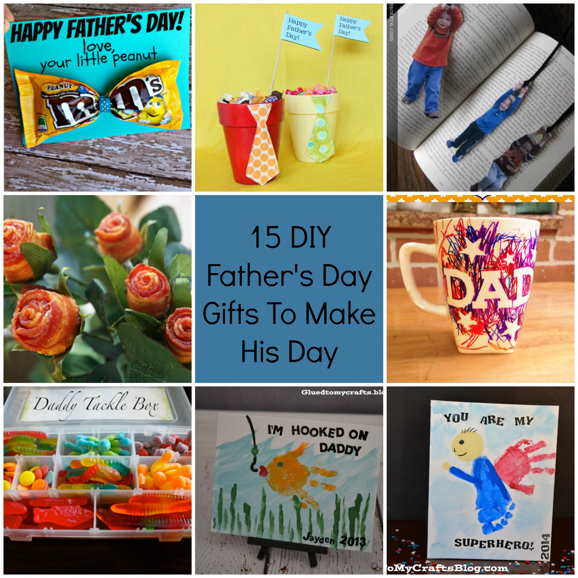Father's Day Candy Jar. Turn a simple glass jar into a creative gift for dad. Use decorative paper to make a tie pattern and to decorate the top of the jar. Fill the jar with Dad's favorite snacks and treats, and present it to him for a happy Father's Day.