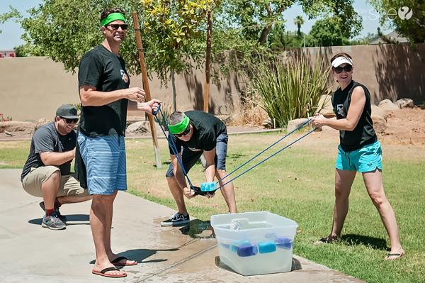 fun water games soaking sponge launcher