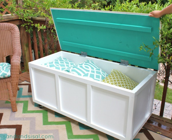 diy storage box bench