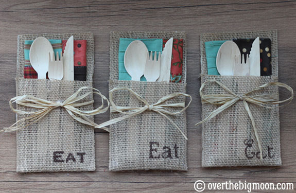 burlap utensil-holders