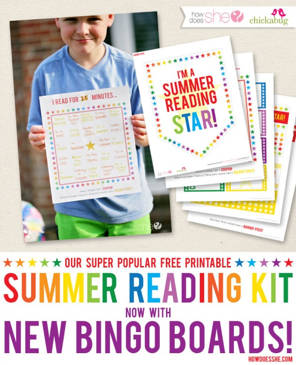 Our super popular free printable summer reading star kit - with new bingo boards! #summerreadingstar #howdoesshe