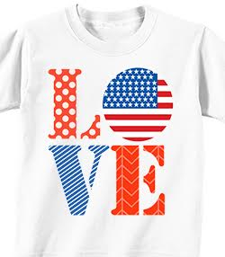 LOVE - 4th of July T-shirt Transfer