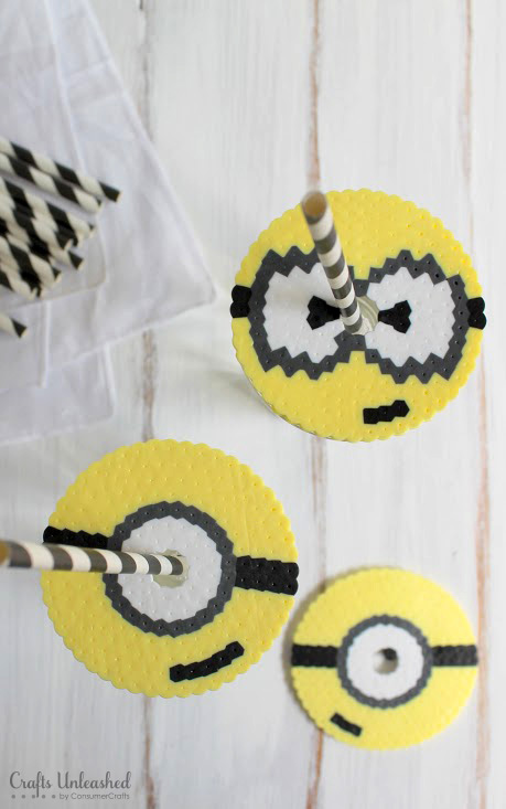 Minion fans 22 ideas to get more minions in your life diy minions perler bead cup covers crafts unleashed solutioingenieria Gallery