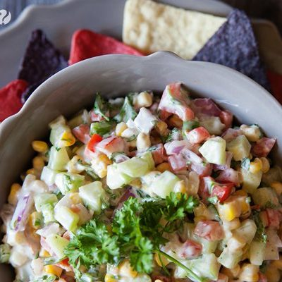 Fresh Grilled Corn and Cucumber Salsa