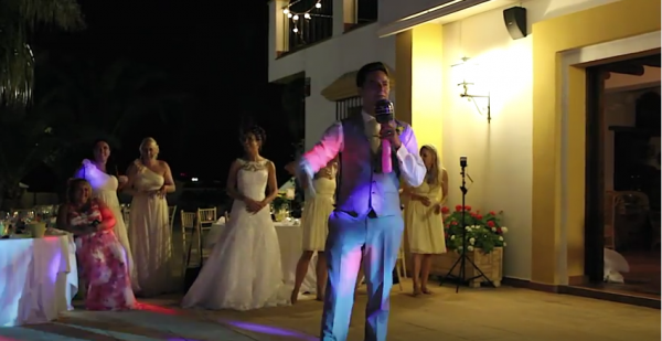 bride and groom dance off