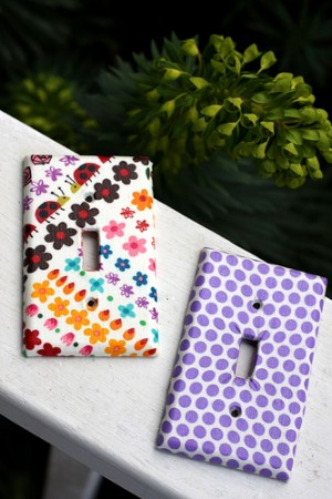 decorative switch plates made with scrap fabric