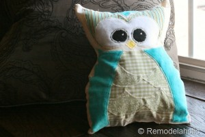 owl pillow scrap fabric project
