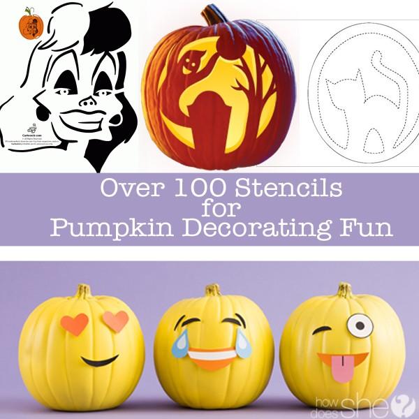 Over 100 Stencils for Pumpkin Decorating Fun