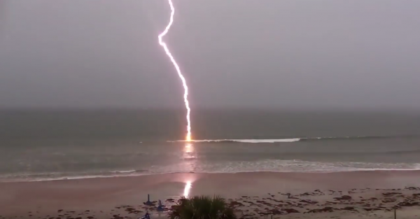 beach storm in slow motion