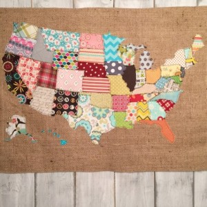decorative map of USA made with fabric scraps