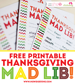 FREE printable Thanksgiving Mad Lib