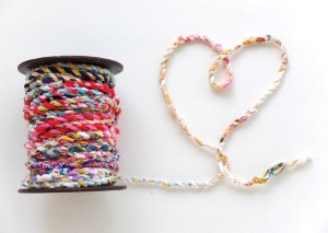 spool of fabric twine made with fabric scraps