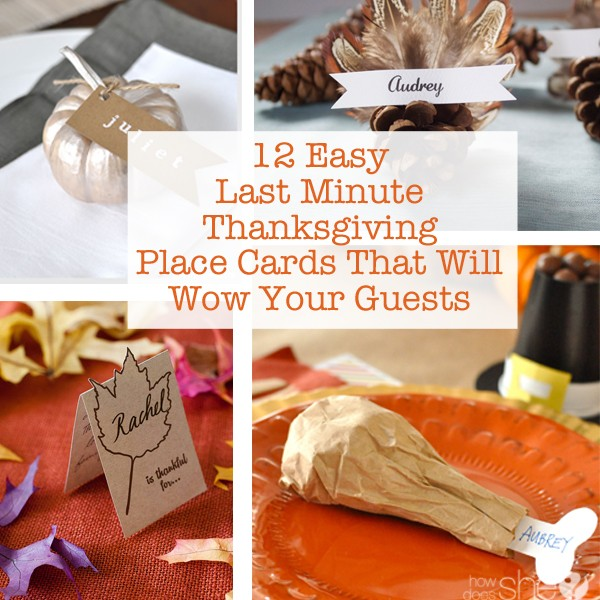 12 easy last minute thanksgiving place cards - Thanksgiving Place Cards