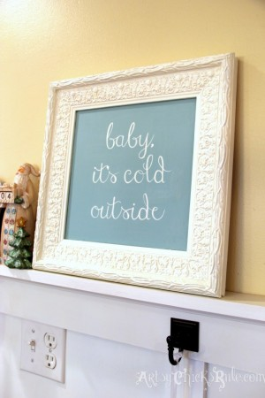 Baby-Its-Cold-Outside-DIY-Thrift-Store-Frame-to-Holiday-Art-682x1024