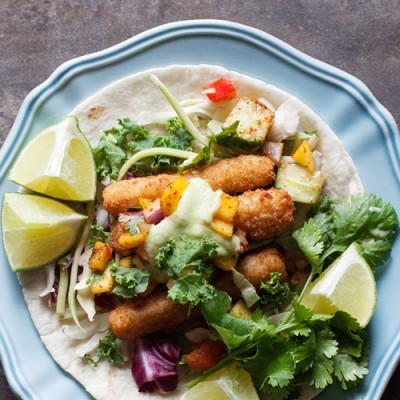 Wicked Simple Fish Tacos with Mango Salsa and Avocado Cream