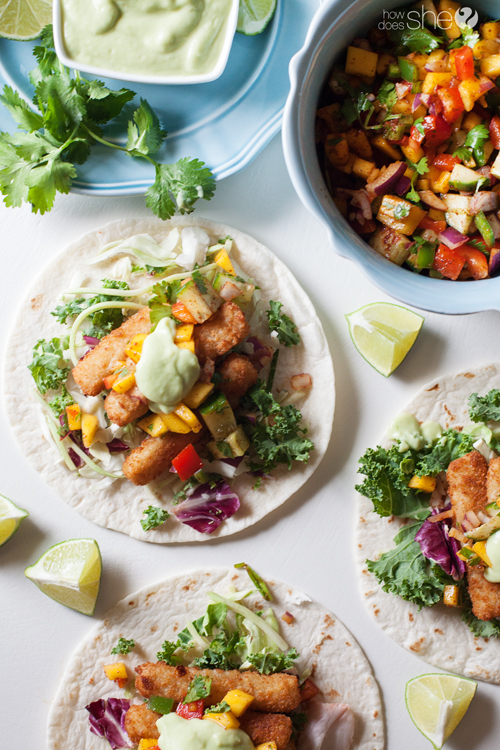 Simple fish tacos with mango salsa and avocado cream (5)