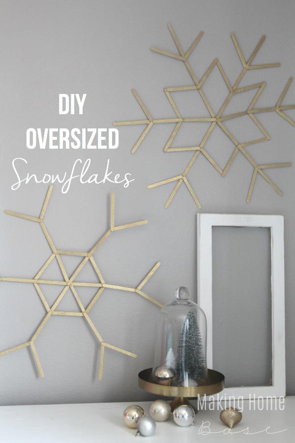 DIY oversized snowflakes