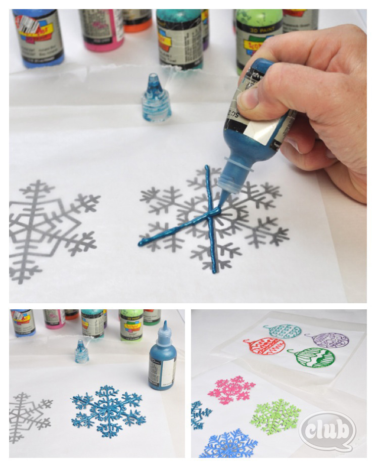 puffy paint window cling snowflakes