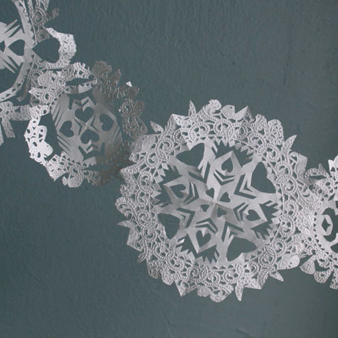 doily snowflake garland