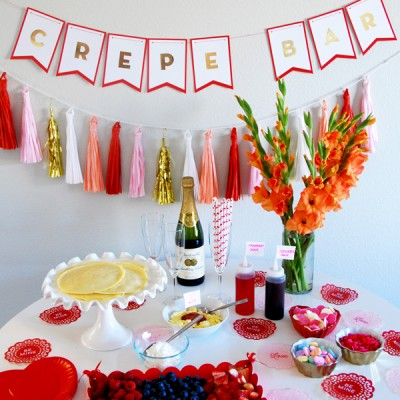 Quick and Easy Valentine Crepe Bar- with DIY banner