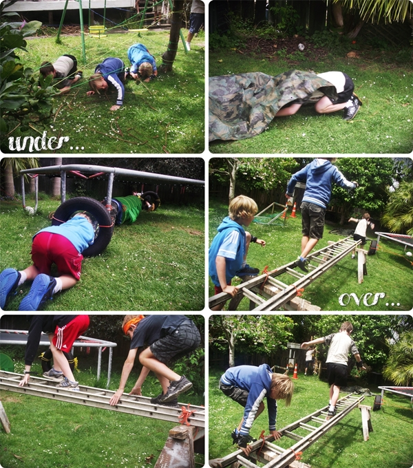 tween boys doing an obstacle course