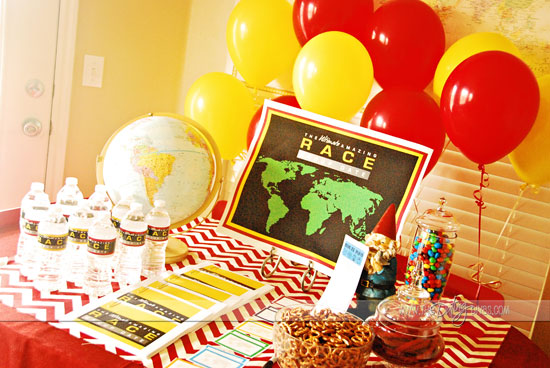 balloons and refreshments for an Amazing Race party