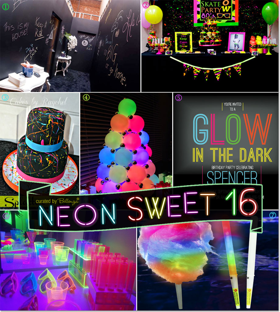 Collage Image Of Neon Themed Sweet 16 Parties