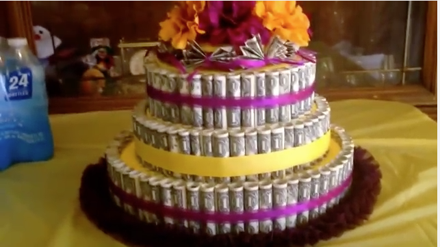 Birthday Cake Made Of Rolled Up Money For Sweet 16 Parties