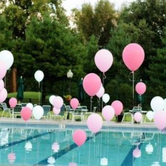 Pool With Floating Balloons For Tween Teen And Sweet 16 Parties