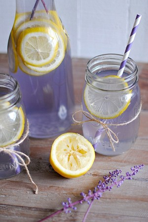 lavender lemonade in mason jars and carafe with lemon garnish