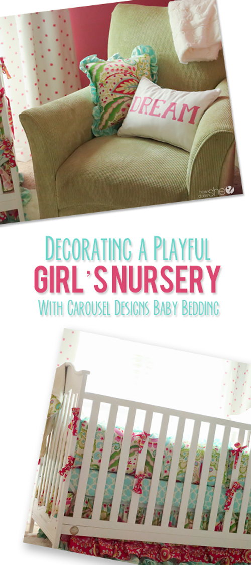 Decorating a Playful Girl's Nursery – Featuring Carousel Designs Baby Bedding