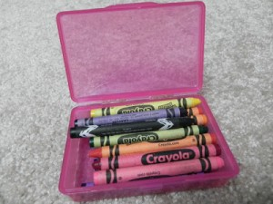 crayons in box open