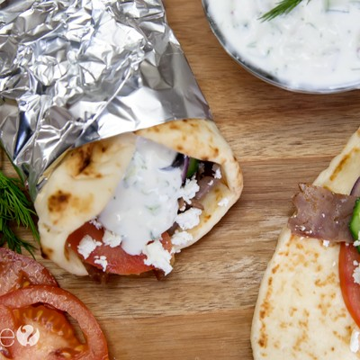 Quick and Easy Roast Beef Gyros with Tzatziki Sauce