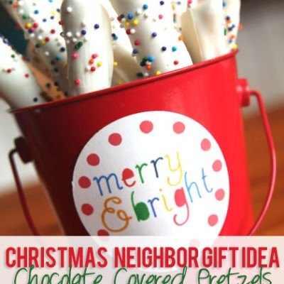 #14 Christmas Neighbor Gift Idea – chocolate covered pretzels