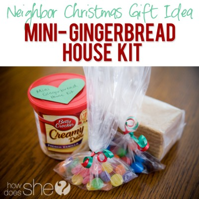 #40 Neighbor Christmas Gift Idea- Mini Gingerbread House Kits