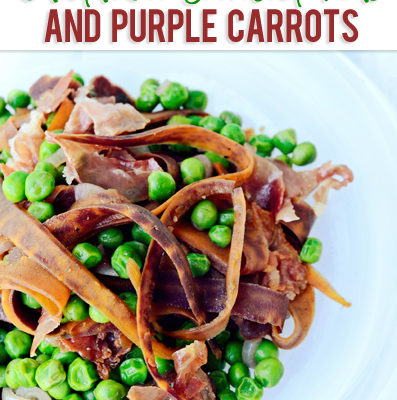 Prosciutto with Cardamom Scented Peas and Purple Carrots