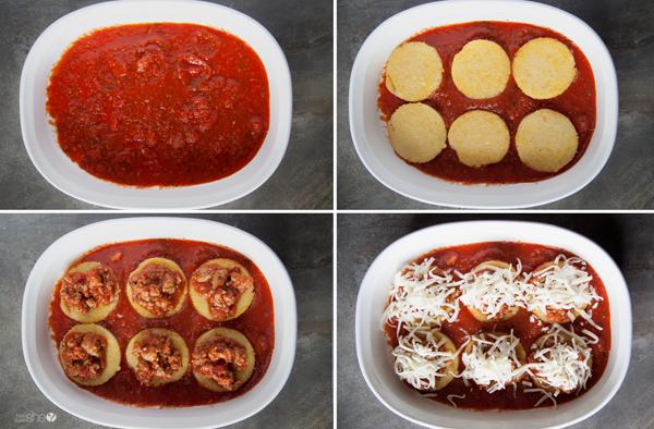 Quick fried polenta with sausage marinara sauce recipe