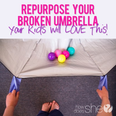 Repurpose your broken umbrella…your kids will LOVE this!