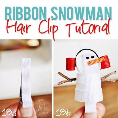 Ribbon Snowman Hair Clip