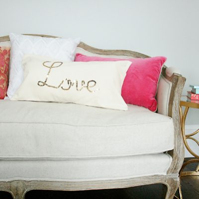Gold Sequin Word Script Pillow