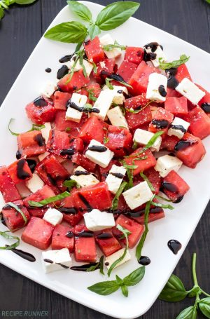 Grilled Watermelon Feta and Basil Salad