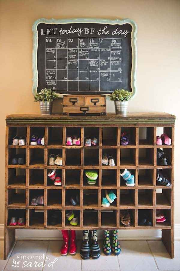 library card shelf used for shoe storage