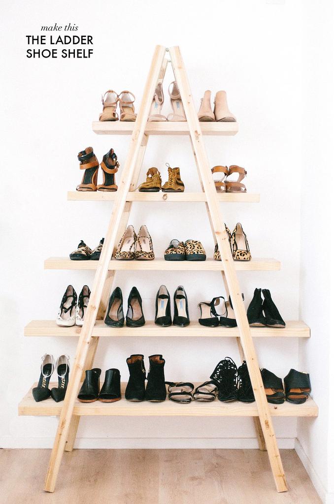 photo of ladder shoe shelf for shoe storage