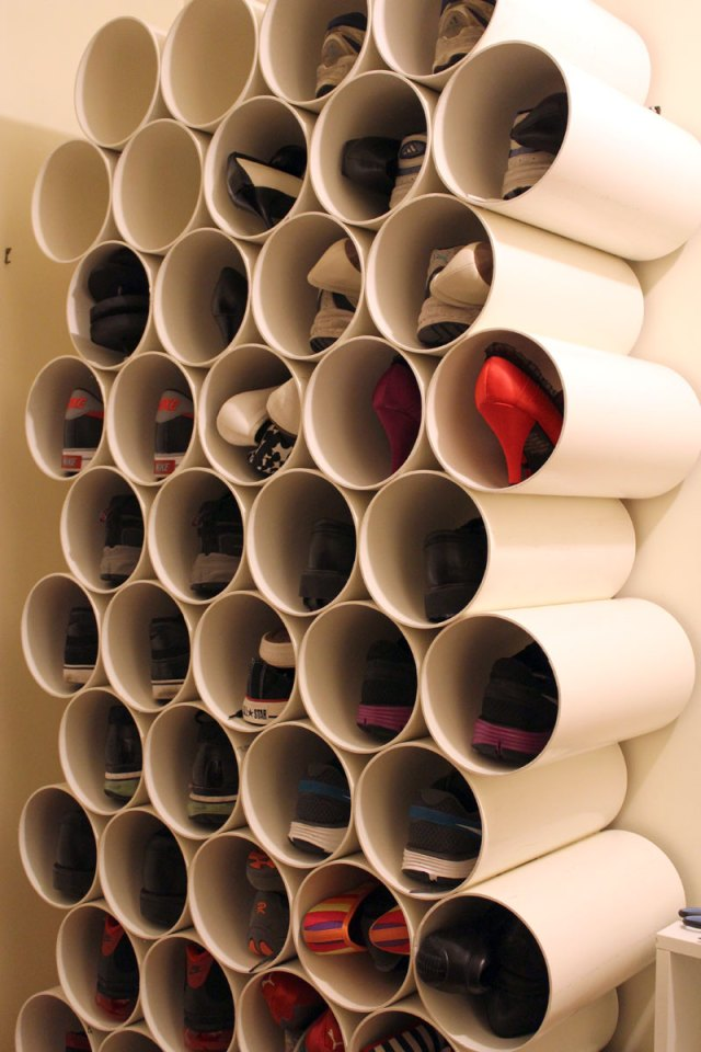 pvc pipes used to hold shoes & 14 Smart Shoe Storage Solutions to Get Rid of Shoe Piles