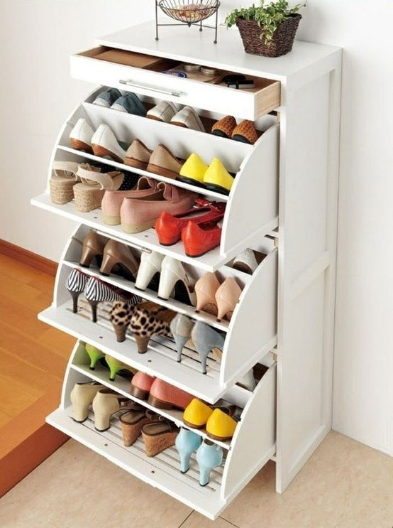 white cabinet with built in shoe storage